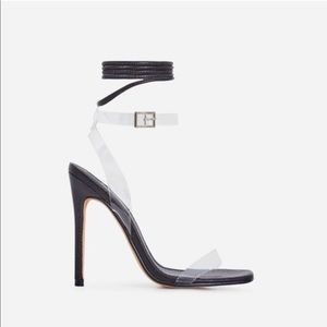 Clear PVC Strappy Square Open Toe Heels Black
